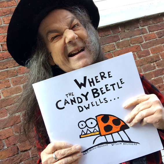 Fred Cole (Dead Moon) with his copy of 'Where the Candybeetle dwells...'