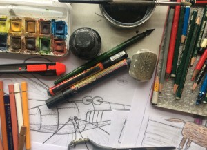 PENCILS…ERASER…BRUSHES…INK…COLORPENCILS…KNIFE…